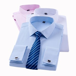 T-shirts à manches longues classiques classiques pour hommes sans poche Tuxedo Homme chemise avec boutons de manchette