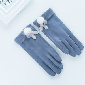 Season new suede women's Warm and gloves elastic touch screen plus velvet cold-proof warm finger gloves