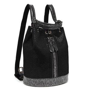 Women Fashion Sequins Leather Laptop Backpack Female Personality Lock Anti Theft Bagpack Travel Mochila Feminina Back Pack
