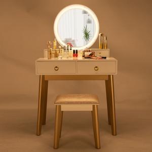 2020 commode miroir tri-pli avec dressing tabouret mode dames moderne table de stockage vinaigrette de maquillage de table dames de la maison blanche Coiffeuse