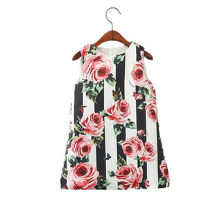 Girls Dress Rose Flower Princess Sundress Love Heart Fashion Spring Summer Autumn Vest Dress Baby Clothing HJ001