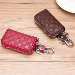 Car Zipper cover key case new women's general waist hanging fashion Plaid genuine leather men's key case simple zipper