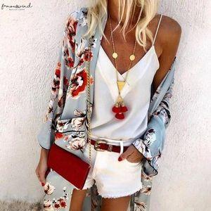 2020 Long Kimono Mujer Womens Blouse Fashion Boho Print Sunscreen Sheer Loose Summer Cardigan Beachwear Cover Up Blusas Mujer
