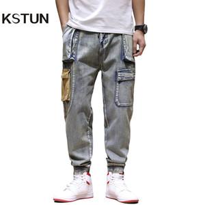 KSTUN Mens Jeans coloridos Denim Pockets calças cargo Jeans Men Casual soltas Fit Harem Vintage Calças multi Pockets Corredores Homme