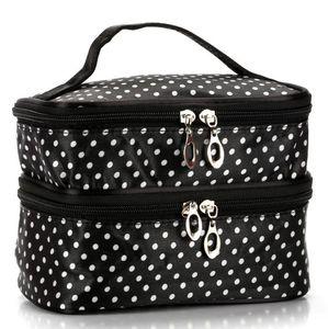 New Designer Handbag 2020 Fashion Explosion Model Wavelet Double Layer Small Dot Cosmetic Bag