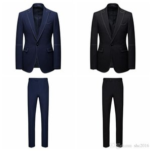 Wedding Men Suits Handsome Bridegroom Groom Tuxedos 2 Pieces Blazer Peak Lapel One Button Formal Business Jacket Slim Fit (Jacket+Pants)