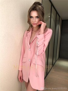 2020 New design women's sweet pink color rhinestone patchwork shinny buttons pin patchwork personality medium long blazer suit coat SML