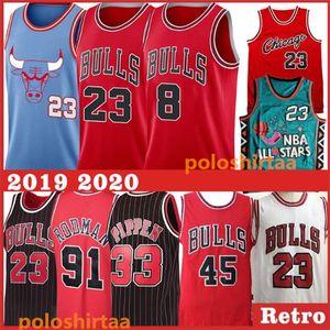 Mens ChicagoBullsTrikots Dennis Rodman 91 College-Scottie Pippen 33 8 LaVine 23 MJ genähtes Basketball Stickerei Jerseys