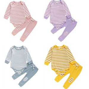 Baby Girls Boys Outfit Spring Autumn Sweet Style Long Sleeve Striped Romper Tops+ Patch Decoration Solid Color Long Pants Set