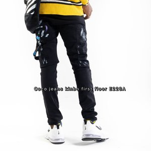 Wholesale fashionable men's jeans men's skinny ripped white striped jeans men's stretch slim drawstring locomotive jeans black blue ~S#133