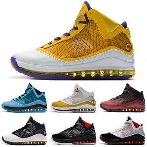 Mens LeBrons sapatos 7 crianças de basquete Triplo Gato Preto Ouro Branco Red Oreo BHM CNY Páscoa LeBron 7s VII sneakers tênis