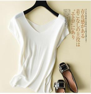 2020 ساخنة المرأة الصيف الحرير بلايز الموضة النسائية V الرقبة أكمام حك البلوز لينة مريحة شاطئ أسود أبيض