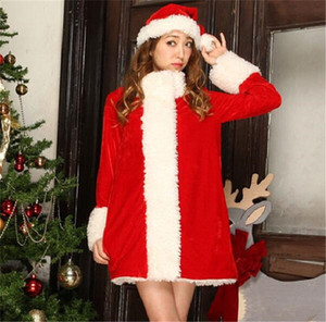 Christmas Santa Claus Cosplay Cute Sweet Fleece Womens Designer Holiday Dresses Contain Hat Loose Casual Party Costume