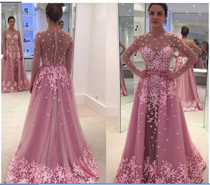 Elegant Pink Saudi Arabic Prom Dresses Illusion Long Sleeve 2018 Jewel Applique See Through A Line Africa Party Evening Gown Overskirt