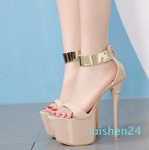 16cm 2019 Sexy nude gold strap platform ultra high heel gladiator sandals size 35 to 40 l24