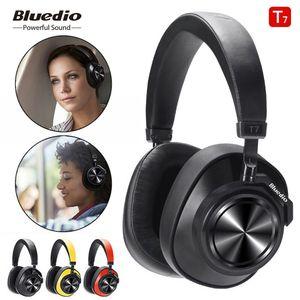 Bluedio T7 + 블루투스 5.0 지능 AI 스테레오 휴대용 무선 헤드폰 헤드셋 액티브 노이즈 감소 취소 이어폰을 헤드에 장착