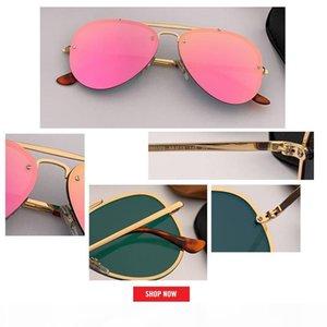 2019 أعلى جودة الطيران النظارات الشمسية المرأة العلامة التجارية مصمم الطيار الشمس الزجاج أنثى الرجال الحريق فلاش الوردي مرآة UV400 gafas السوداء مكبرة