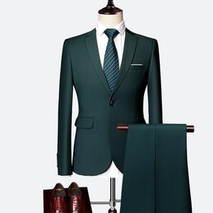 Traje de los hombres clásicos Set 2020 de alta gama personalizados ropa color sólido vestido delgado de negocios novio boda de la alta calidad 2pcs / Tuxedo