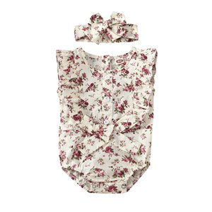 IMCUTE 2020 Newborn Infant Baby Girl Button Floral Print Ruffle Sleeve Romper Jumpsuit with Headhand