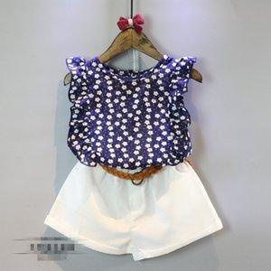 Zhao Yi pantalon costume enfants costume de pantalon ensemble usure 2020 été nouveau T-shirt sans manches floral filles + short ensemble (avec ceinture) R1341