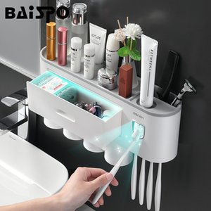 BAISPO Magnetic Toothbrush Holder Bathroom Accessories Automatic Toothpaste Squeezer Dispenser For Home Bathroom Sets Storage T200624