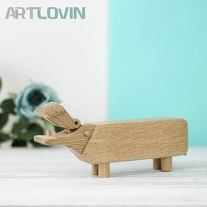 Nordic Natural Oak Wood Hippo Figurines Room Decorations Kids Toys and Gifts Office Supplies Pen Holder Home Decor Ornaments T200710