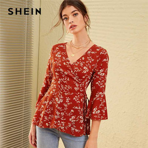 SHEIN V Neck Ditsy Floral Print Knot Side Boho Wrap Blouse Women Tops 2020 Autumn Holiday Flounce Sleeve Ladies Fitted Blouses