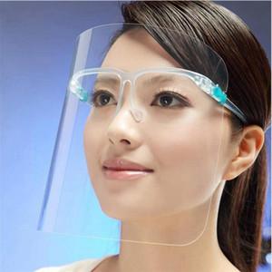 Горячие 2020 Прозрачная Защитная маска ПЭТ Пластиковые очки Clear Изоляция Рама анти туман Полный Защитные маски DDA136