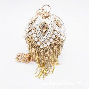 Diamond-Studded spherical lady makeup formal dress handmade women's Handmade dinner Makeup bag dinner bag bag