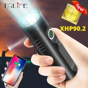 TRLIFE Potente LED recargable P90.2 P50 L2 T6 táctico Built-in 3200mAh LED de la linterna para acampar Riding