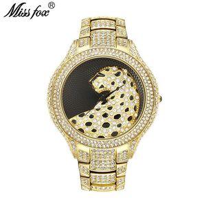 Dropshipping MISSFOX 3D-Leopard-Uhr Schwarzes Zifferblatt 18K Gold Top wathces Männer Edelstahl-Rückhand Uhr für Männer
