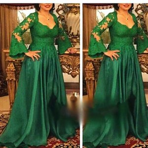 Plus Size Mother of Bride Dresses Suit Dark Green Lace Satin Long Sleeve Floor Length Wedding Party Mother Dresses Formal Evening Gowns