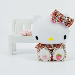 Rhinestone Cat Keychains Cartoon Pendants for Girls Schoolbag Decoration Birthday Gifts Fashion Jewelry Car Accessories