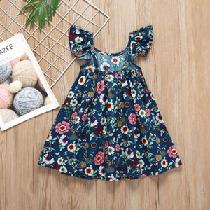 Kids Girls Dresses Baby Floral Printed A-line Dress Toddler Baby Ruffle Sling Dress Adjustable Shoulder Strap 1-6T