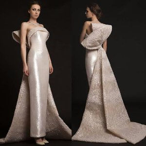 Strapless Mermaid Big Bow Back Sequins Evening Dresses Prom Gown Fashion 2021 Arabic Aso Ebi VintageProm Gown vestidos de novia