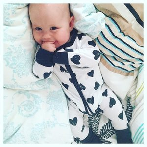 2020 New arrival Heart printing Cotton Baby Boys Girls Zipper Long Sleeve cotton Rompers Jumpsuit Outfits BR121