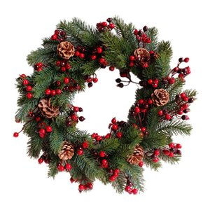 EASY-Decorated Artificial Christmas Wreath Green Branches with Pine Cones Red Berries IndoorOutdoor Xmas Decoration 45cm Pet Supplies