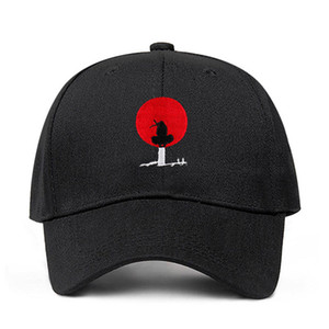 Diseñador Sombreros 100% algodón Akatsuki Anime Naruto Japonés Uchiha Sasuke Bordado gorras de béisbol Snapback Hat 2020