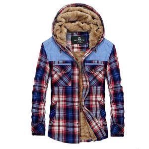 20FW 남성 디자이너 자켓 캐주얼 격자 무늬 양털 긴 소매 두꺼운 후드 코트 새로운 남성 겨울 셔츠