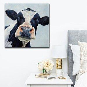 vA. Moderne nette Kuh Handpainted HD-Druck Abstrakte Tierkunst-Ölgemälde auf Leinwand Wall Art Deco a81