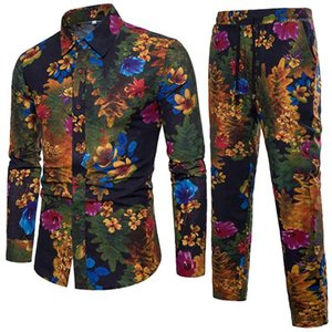 Tracksuits Mens Floral Shirt Suit Long Sleeve Lapel Neck Single Breasted Shirts Lace Up Trousers Male