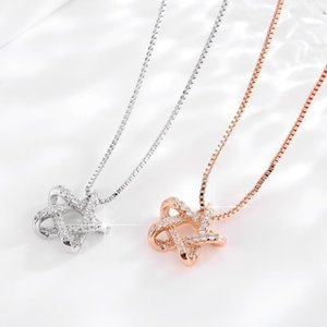 Korean s925 silver diamond pendant necklace female pentagram little red book with the money box chain jewelry factory direct