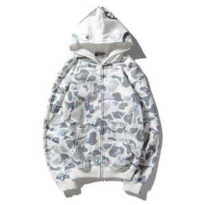 Autumn and winter tide brand shark starry camouflage hip-hop hooded sweater wild men and women couples cardigan jacket
