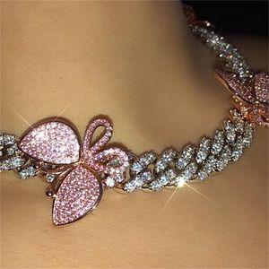 Catena Glaming Rosa Cuban link Choker collana della farfalla di cristallo strass Chokers per le donne collare dell'oro CX200724 all'ingrosso