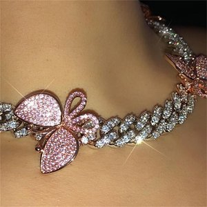 GLAMing الوردي الكوبية لينك فراشة قلادة قلادة سلسلة كريستال حجر الراين المختنقون القلائد للمرأة الذهب الياقة CX200724 بالجملة