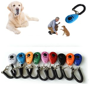 Pet Cat Dog Training Clicker Plastic New Dogs Click Trainer Aid Too Adjustable Wrist Strap Sound Key Chain
