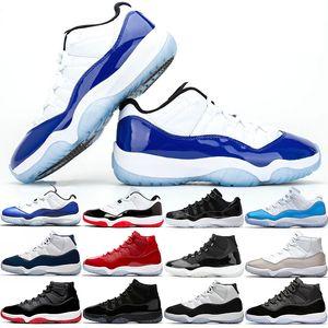 Nike Air Jordan Retro 11s economici Uomo Donna scarpe da basket Mens Trainers 25 ° Anniversario Bianco Bred Scarpe Blu Concord Baroni UNC Win Lago Mens Sport Dimensioni 36-47