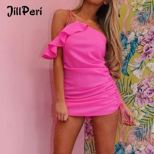 JillPeri Women Summer Ruffles Mini Dress Fashion One Shoulder Soft Chiffon Strappy Ruched Vacation Holiday Wear Outfit Dress