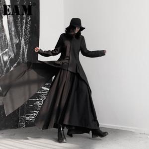 [EAM] Женщины черный Асимметричный ленты Блуза Новые нагрудные длинным рукавом Сыпучие Fit рубашка Мода Tide весна осень 2020 19А-A544