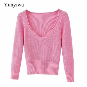 new women fashion v neck pink color knitting sweater ladies basic casual slim sweaters chic leisure pullover tops S304